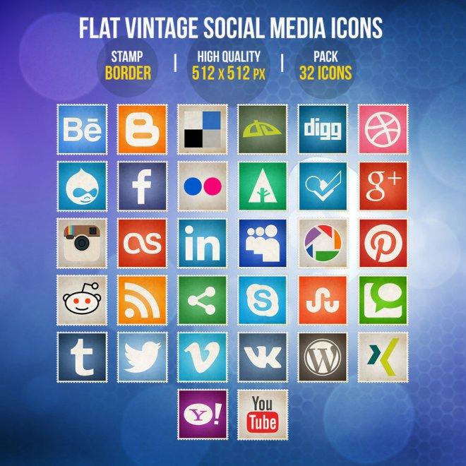 Flat Vintage Social Media Icon Set