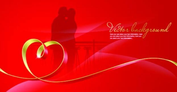 Red Valentine's Day Vector Banner Background 01