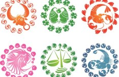 12 Colorful Zodiac Symbols Vector
