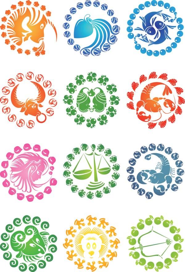 12 Colorful Zodiac Symbols Vector