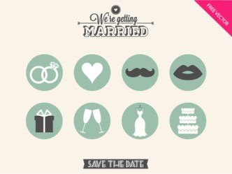 8 Flat Wedding Icons PSD