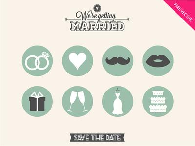 8 Flat Wedding Icons PSD