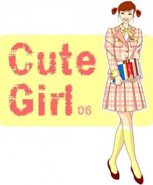 Cute School Girl Illustration Vector