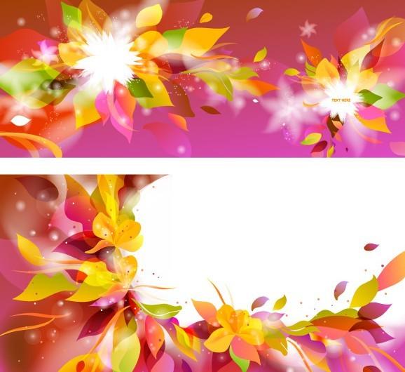 Colorful Spring Flower Frame Vector 01