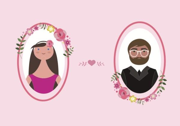 Vector Bride and Groom Illustration