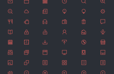 48 Red Thin Icons PSD
