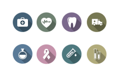 18 Flat Long Shadow Medicine Icons PSD & Vector