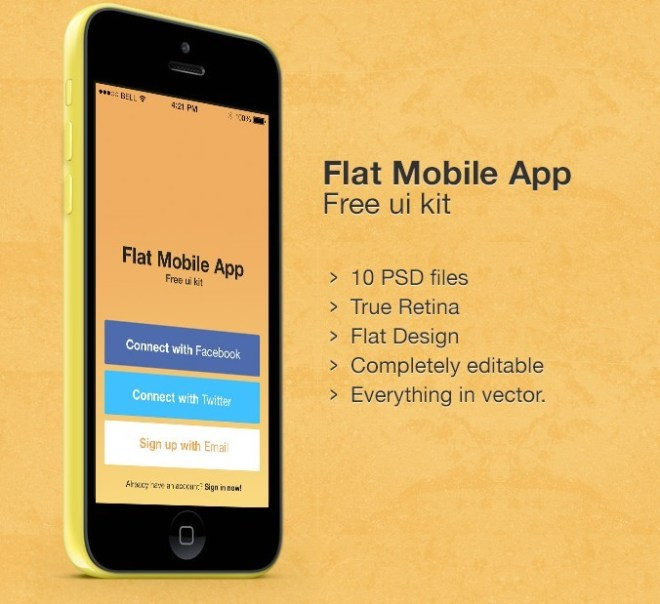 Flat Mobile App UI Kit Vector PSD