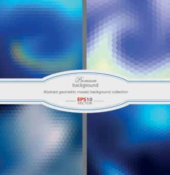 Blue Abstract Geometric Mosaic Background Vector