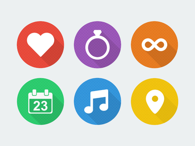 Circular Flat Long Shadow Wedding Icons PSD
