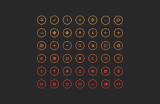 Circular Outlined Web Icons PSD