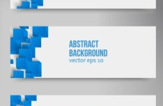 Abstract White Banner with 3D Blue Cubes Background Vector