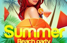 Vintage Summer Beach Party Night Club Flyer Template Vector