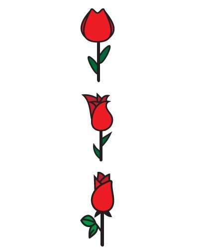3 Red Roses Vector