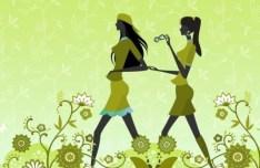 Green Floral Fashion Girls Vector Illustration