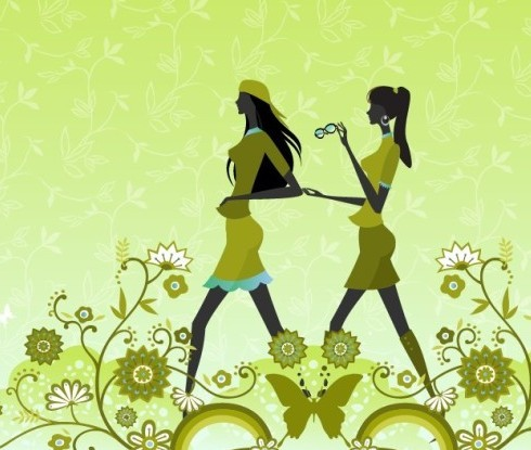 Green Floral Fashion Girls Vector Illustration