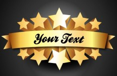 3D Gold Five Star Rating Label Vector