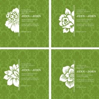 4 White Vintage Flower Backgrounds Vector