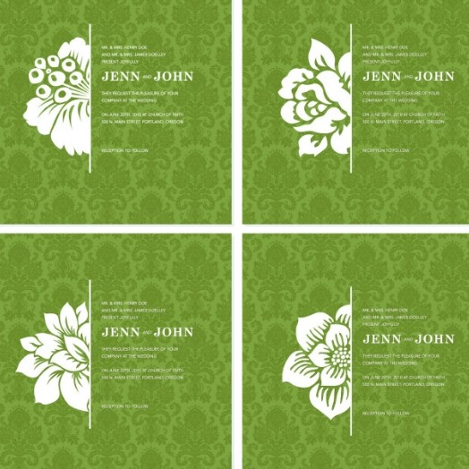 4 White Vintage Flower Backgrounds Vector