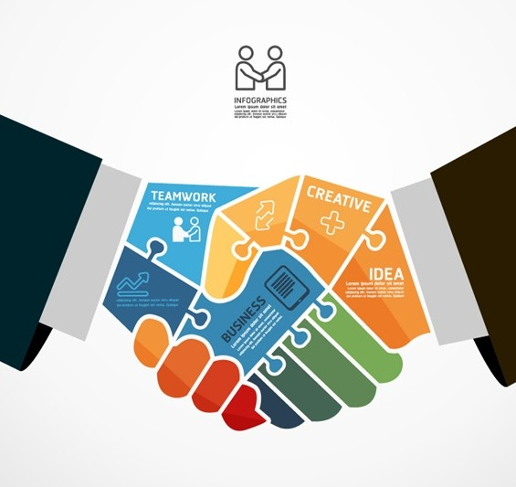 Handshake Business Infographic Design Vector