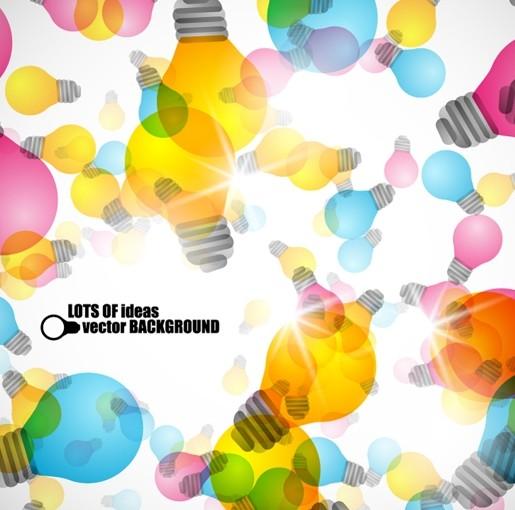 Colorful Bulbs & Ideas Background Vector