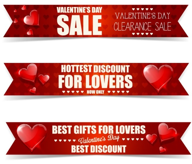 3 Creative Ribbon-Style Valentine's Day Clearance Sale Banners Vector