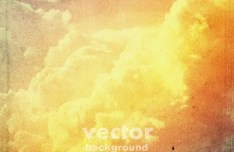 Vintage Yellow Clouds Background Vector