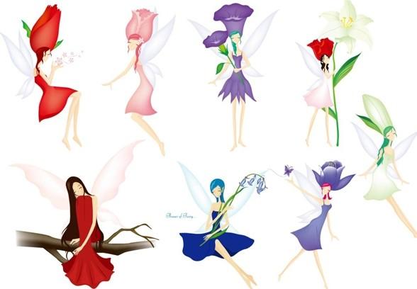 Cartoon Flower Dancing Girls Vector