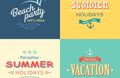Summer Beach Colorful Labels Set Vector