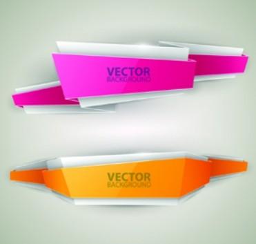 Creative Stylish Ribbon Banner Design Vector 02