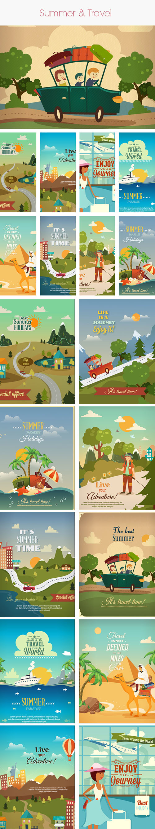 Vintage Summer and Travel Vector Stock Illustrations Pack