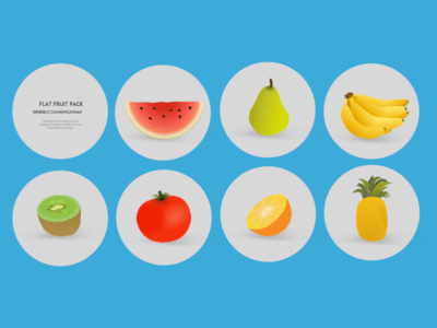 Flat Cartoon Fruit Icon Set Vector