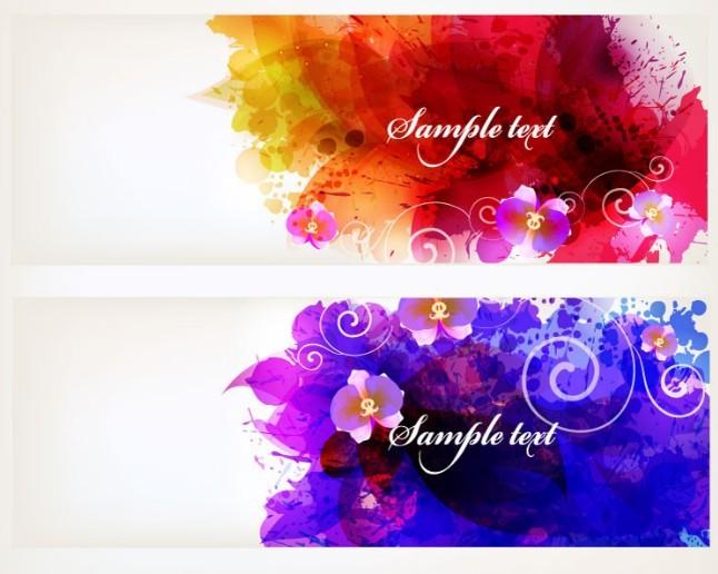 Beautiful Watercolor Splash Flowers Banner Templates Vector