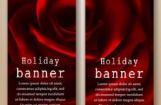 Red Rose Vertical Holiday Banners Vector