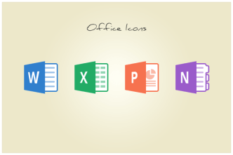 Flat Microsoft Office Icons PSD