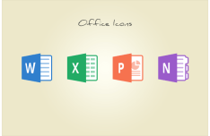 Flat Microsoft Office Icons PSD