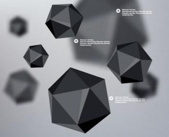 3D Black Polyhedron Background Vector