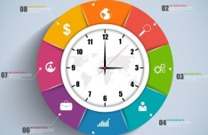 Colorful Flat Clock Infographic Template Vector