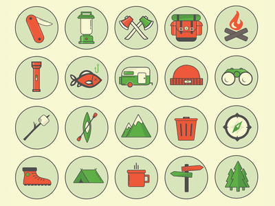 Camping Outdoor Icon Set PSD