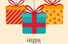 Happy Birthday Gift Boxes Vector