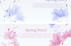 Fresh Clean Spring Story Background Set Vector