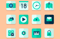 Flat Green Web Icon Set