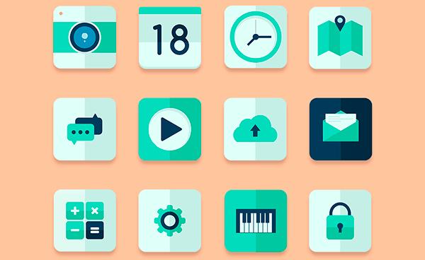 Flat Green Web Icon Set