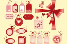 Pink Valentine's Day Tag Set Vector