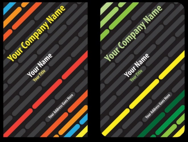 Colorful Abstract Tech Business Card Template Set Vector 01