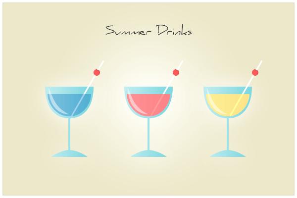 Summer Drinks Icon Set PSD
