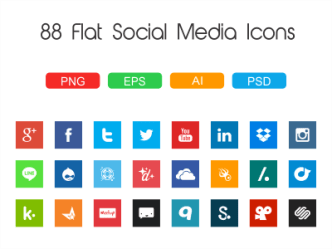 88 Flat Social Media Icons
