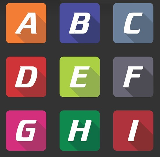 Flat Long Shadow Alphabet App Icons Vector