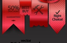 Red Retail Store Ribbon Pack Vector