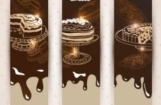 Vertical Chocolate Cake Banner Templates Vector